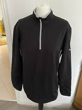 NIKE GOLF MENS BLACK THERMA-FIT FLEECE LINED LONG SLEEVE TOP - SIZE MEDIUM