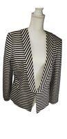 New Ann Taylor Navy Stripe Cotton Blend Lined Blazer Jacket Women  Size 14