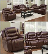Brown Bonded Leather 3 Pieces sofa set w/central console & drop table