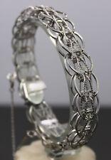 Vintage JB STERLING Silver Double amp Rope Twist Link Charm Bracelet