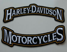 1 Set x Patch Aufnäher Harley Davidson Motorcycles Groß 29 x 9 cm schwarz / gelb