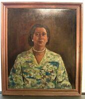 Vintage Russian Impressionist Woman Portrait Painting