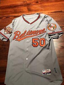 2014 Baltimore Orioles Majestic Cool Base BASEBALL JERSEY Sz 44 double patch