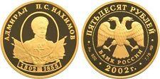 50 Rubel Russland PP 1/4 Oz Gold 2002 Naval Commander Pavel Nakhimov Proof