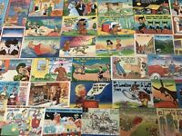 Lot of 50 Linen Humor Comic ~Funny Vintage Postcards-unused-a874