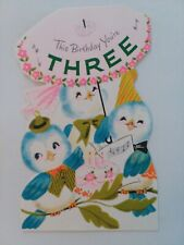 Vtg 1960 BLUEBIRDS & CAKE 3rd BIRTHDAY GREETING CARD