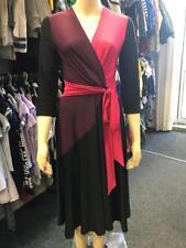 Nw Ex Principles Purple Pink & Black Stretch Fit Flare Midi Length Wrap Dress