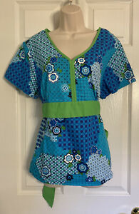 Koi By Kathy Peterson Women's Scrub Top Size XL Blue Green tie neckline pockets