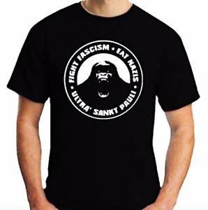 St.Pauli T-Shirt Fight Fascism Eat Nazi Ultra   Free UK Delivery Adult Top Black