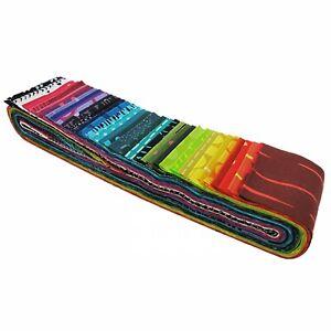 """Me+You Rainbow Batik Bali Pops Jelly Roll by Hoffman 40 2-1/2"""" Strips 44"""" Long"""