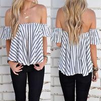 Summer Womens Ladies Casual Off the Shoulder Tops Tank Lesiure T-Shirt New Pro