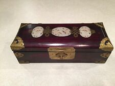 Vintage Asian Chinese Rosewood, White Jade & Brass JEWELRY BOX Hinged Chest