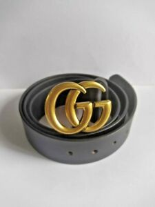 MEN'S GUCCI GOLD BELT GENUINE BLACK LEATHER WITH GG BUCKLE