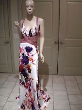 Cinderella Prom Dress Beaded & Sequin Stunning! Floral Print Cut Out Sexy! NWT 6