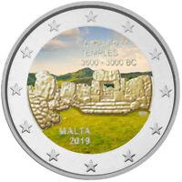 2 Euro Gedenkmünze Malta 2019 Ta Hagrat coloriert mit Farbe / Farbmünze    1
