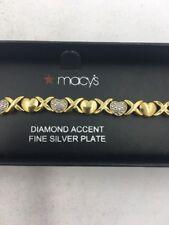 New Macy's DIAMOND ACCENT XO Fine Silver Plate Bracelet  NWT  List $100