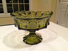 Large FOSTORIA COIN GLASS Dark Olive Green Glass Footed Compote Fruit Bowl EUC