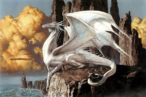 White Dragon Home Decor Canvas Print A4 Size (210 x 297mm)