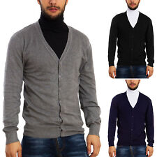 Mens Cardigan Basic Sweater Jacket Pullover Toocool Long Sleeves Buttons D312