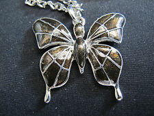 Necklace Butterfly Black Enamel Silver Sweater Chain 48cm Beautiful Gift IdeaNEW