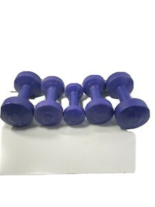 Vinyl Dumbbell Weight Set Preowned (1)1lb (2)2 3lb (2)5lb 17 Pounds Total.