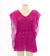 TOPSHOP Women's Purple Sheer Fishnet Kimono Sleeve Tunic 03A02A US Size L NEW