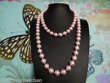 22 Künstliche Perlenketten (10 mm)leicht rosa -Länge 120 cm - Endlos Perlenkette
