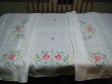 Vintage  Hand Embroidered Linen  Table Cloth 108 X 49 -UNUSED