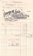 1890 George W. Gale Cambridgeport Massachusetts Lumber Building Materials