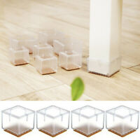 Transparent Square Table Feet Cover Silicone Furniture Leg Cap Floor Protection