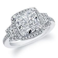 Cushion Cut Platinum 3.25 Carat Diamond Engagement Ring GIA Certified