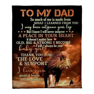 Father Day Gift To My Dad Lion  Daughter Birthday Gift Sherpa Fleece Blanket