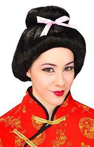 Womens Geisha Wig Asian Bun Bow Japanese Goddess Hair Adult Halloween Costume