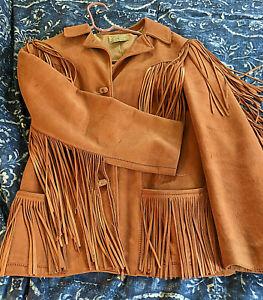 Vintage Western Leather Jacket with Fringe