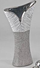 713544 Búcaro Blanco plata 16x30cm Hecho De Cerámica hecho a mano NUEVO