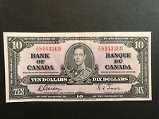 Canada 1937 10 Dollar Bill Gordon Towers X/D 8443369 EF+++ Excellent Condition