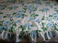 Vintage Tablecloth White Blue Floral Poly Farmhouse Country 70 ROUND Farm House