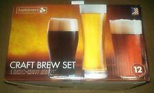LUMINARC CRAFT BREW SET 12 GLASSES, 4 PINT, 4 PUB, 4 PILSNER  - NEW IN BOX