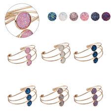 Fashion Women Crystal Quartz Druzy Bracelet Natural Stone Gold Cuff Bangle Gift