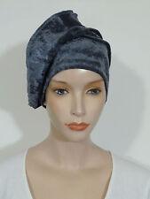 Advanced style lagenlook anthracite velvet velour slouchy beanie hat (chemo hat)