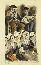 Pierre GANDON (1899-1990) School Estienne the Hay-les-Roses post stamp Music