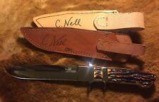 Chad Nell Custom Knife Knives Loveless Big Bear Subhilt Amber Stag Number 1!