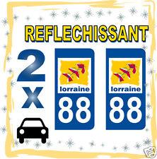 2 stickers REFLECHISSANT département 88 rétro-réfléchissant immatriculation AUTO