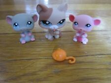 Littlest Pet Shop LOT Licking Paw Cat 1363, Mice Pink Gray 633 192 + Tiny Mouse