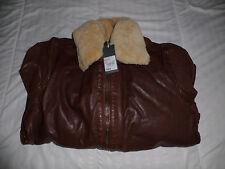 RJR.John Rocha Designer tan borg leather aviator jacket RRP: £260.00