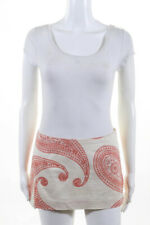 Trina Turk Womens Above Knee Micro Mini A-Line Skirt Beige Orange Paisley Size 2