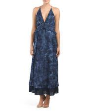 NWT THAKOON Made In USA Denim Indigo Blue Dye Ruffle Long Dress Size 2 $1650