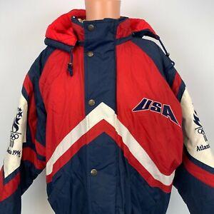 Starter Team USA 1996 Atlanta Olympic Games Hooded Puffy Jacket Vtg 90s Sewn L