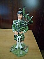 "Sculptures UK Scottish Bag piper figurine bagpiper military 6"" high All handmade"