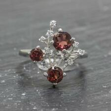 Natural .82ctw Garnet & White Sapphire 925 Sterling Silver Ring Size 8